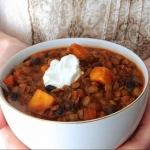 Vegetarian Lentil, Black Bean, & Sweet Potato Chili