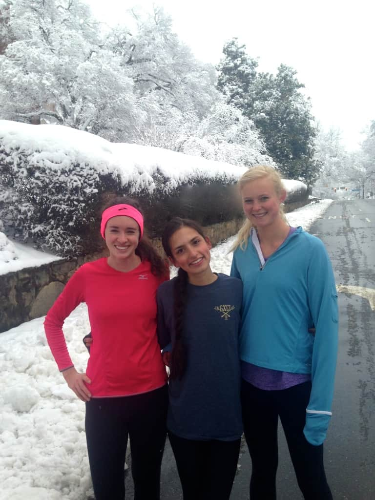 crazy girls running snow