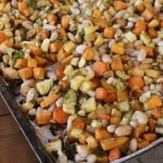 Roasted Winter Vegetables with Cannellini Beans- roasting these vegetables makes them over-the-top delicious! The veggie-hating guys in my house couldn't stop eating them!