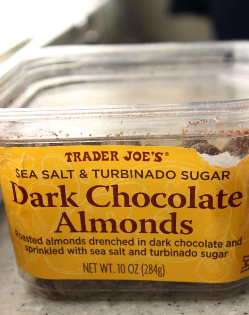 Trader joes dark chocolate sea salt almonds- so good!