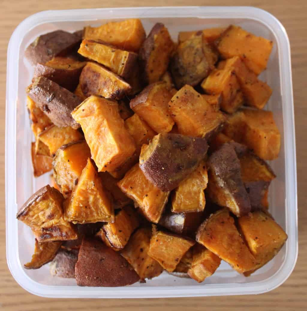 roasted garlic sweet potatoes