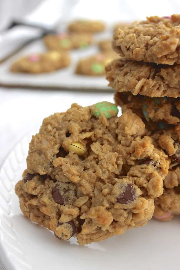 Monster Cookies- loaded with oats, peanut butter, chocolate chips, and M&Ms, and you don't even need a mixer!