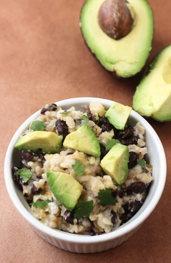 5-Minute Vegetarian Burrito Bowl- healthy, creamy, and ready in less than 5 minutes! Easy enough to make in a college dorm.
