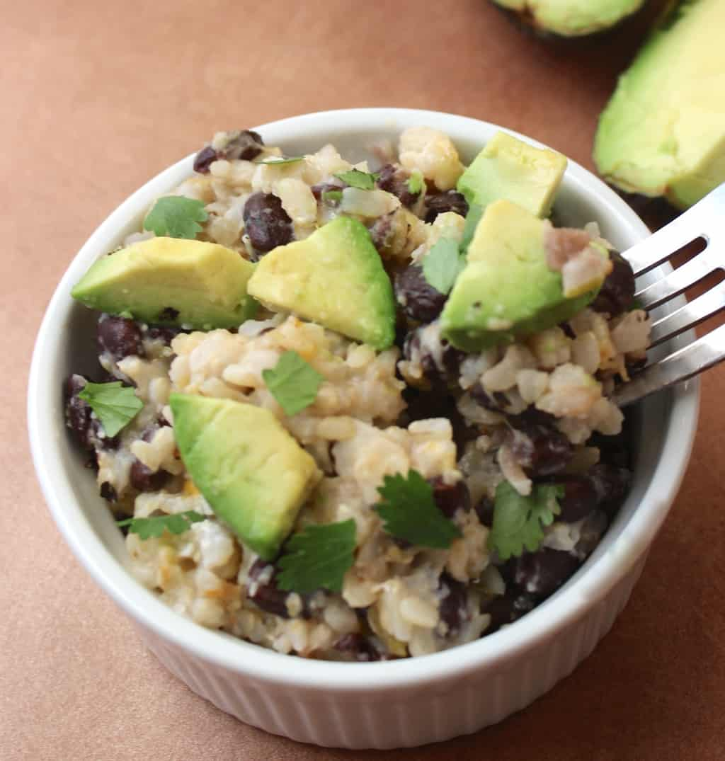Single-Serving Burrito Bowl- healthy, creamy, and ready in less than 5 minutes! Easy enough to make in a college dorm.
