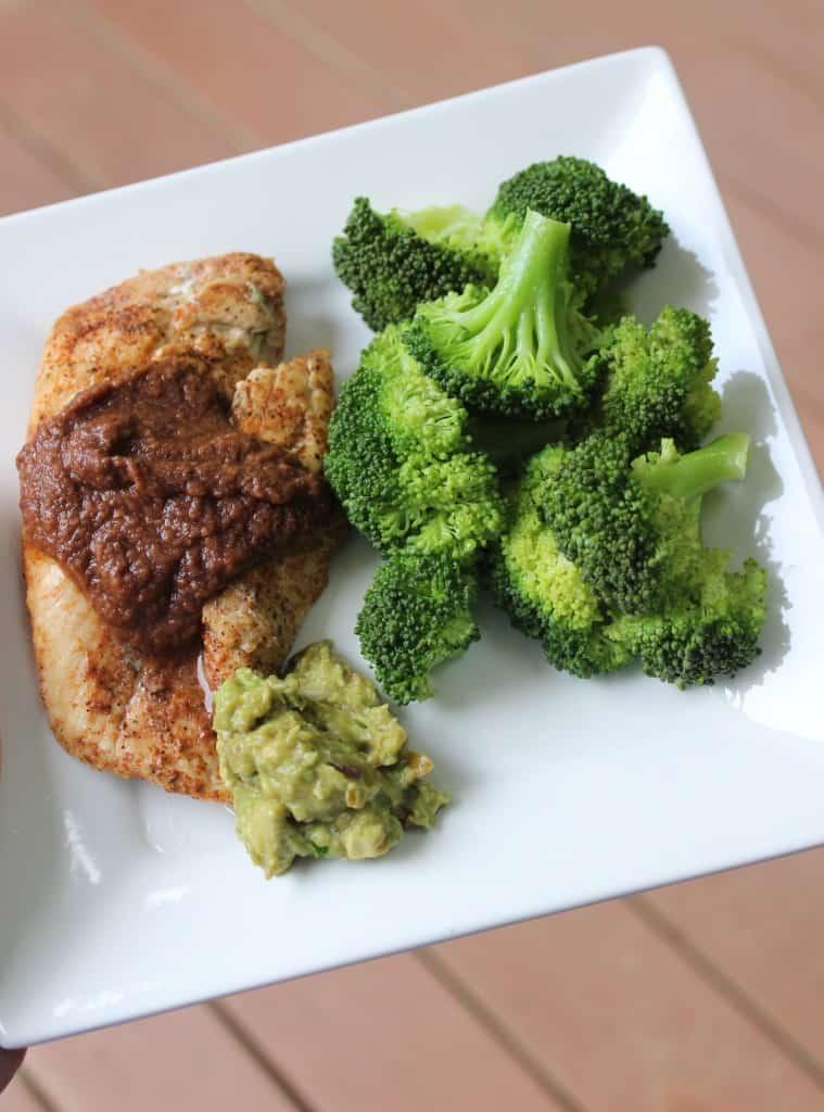 chicken black bean sauce guacamole broccoli