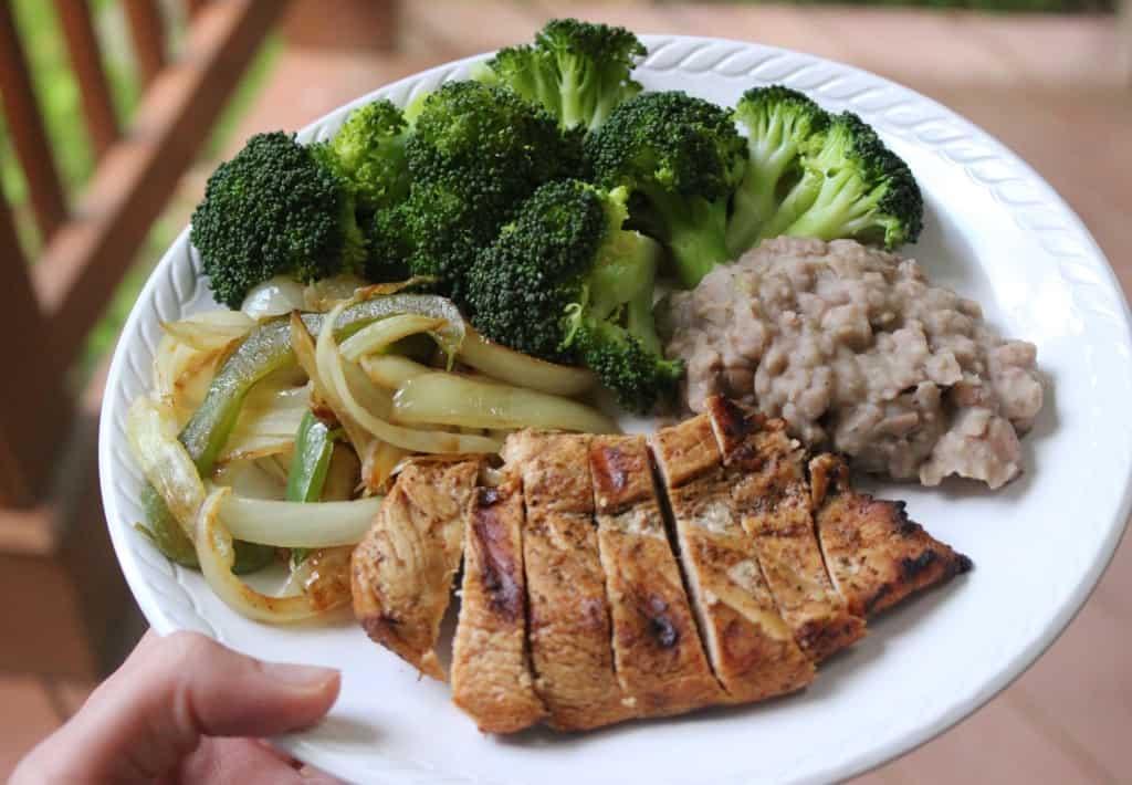 fajita chicken plate grilled veggies