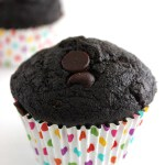 Healthy Double Chocolate Zucchini Muffins- these moist, chocolate-y muffins have only 190 calories each!
