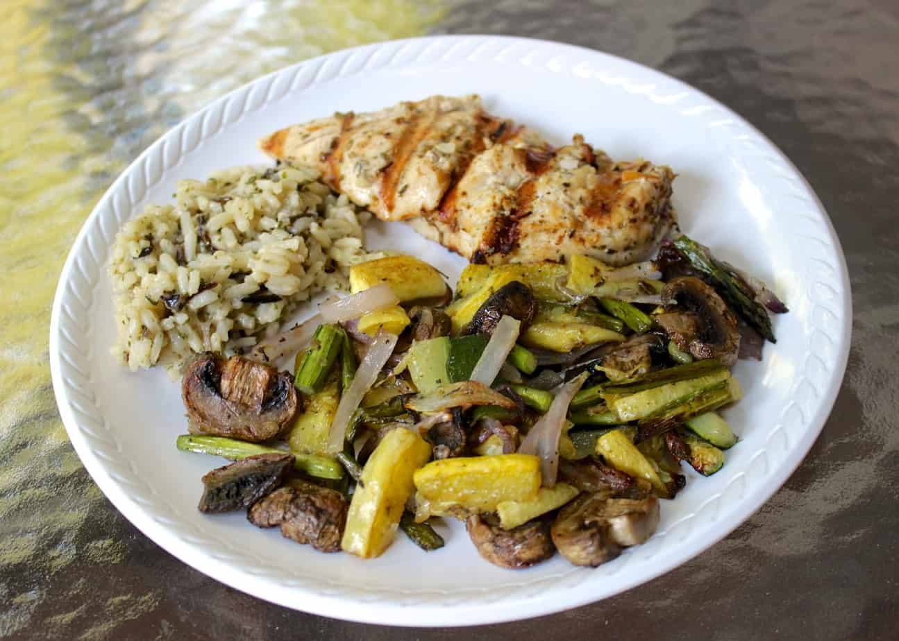 Lemon Rosemary Chicken with Roasted Summer Vegetables