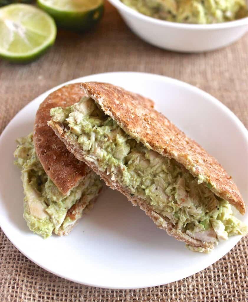 Avocado Greek Yogurt Chicken Salad- so delicious and made with NO mayo! | www.healthy-liv.com