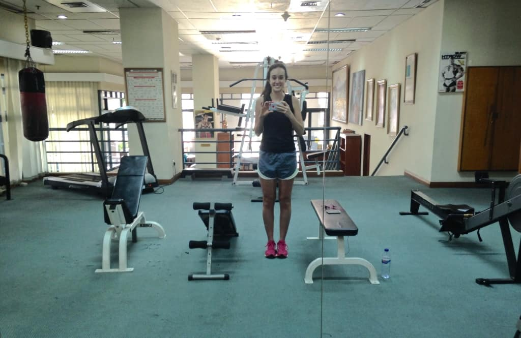 exercising on vacation visiting indonesia hotel gym