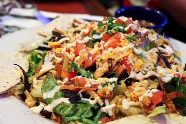quesadilla explosion salad eating healthy at restaurant: don't pick this