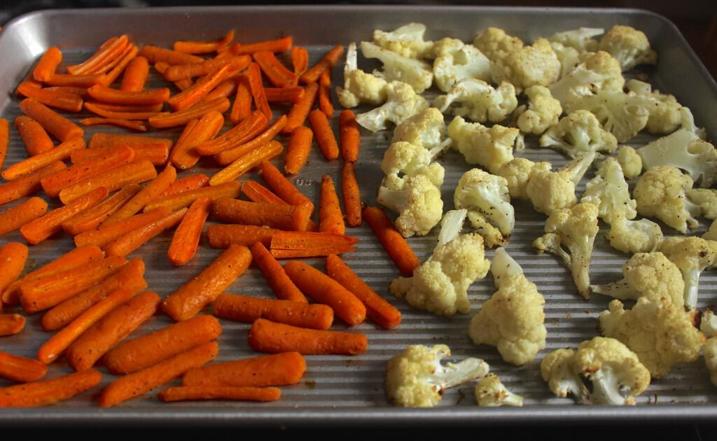 roasted carrots cauliflower coconut oil