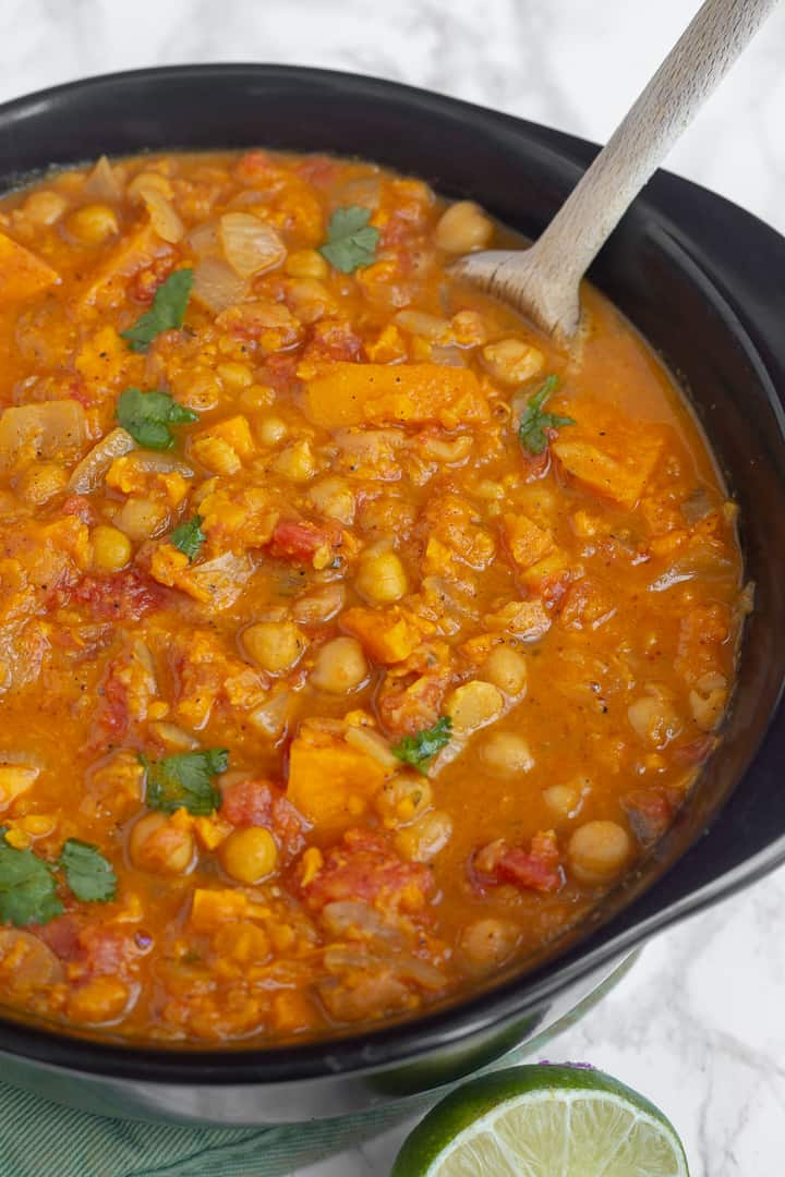 pot of vegetarian sweet potato chickpea stew