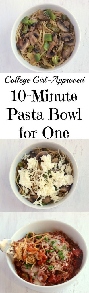 Super cheesy, easy single-serving pasta bowl that you can whip up in 10 minutes or less! Plus an easy trick for wilting spinach.
