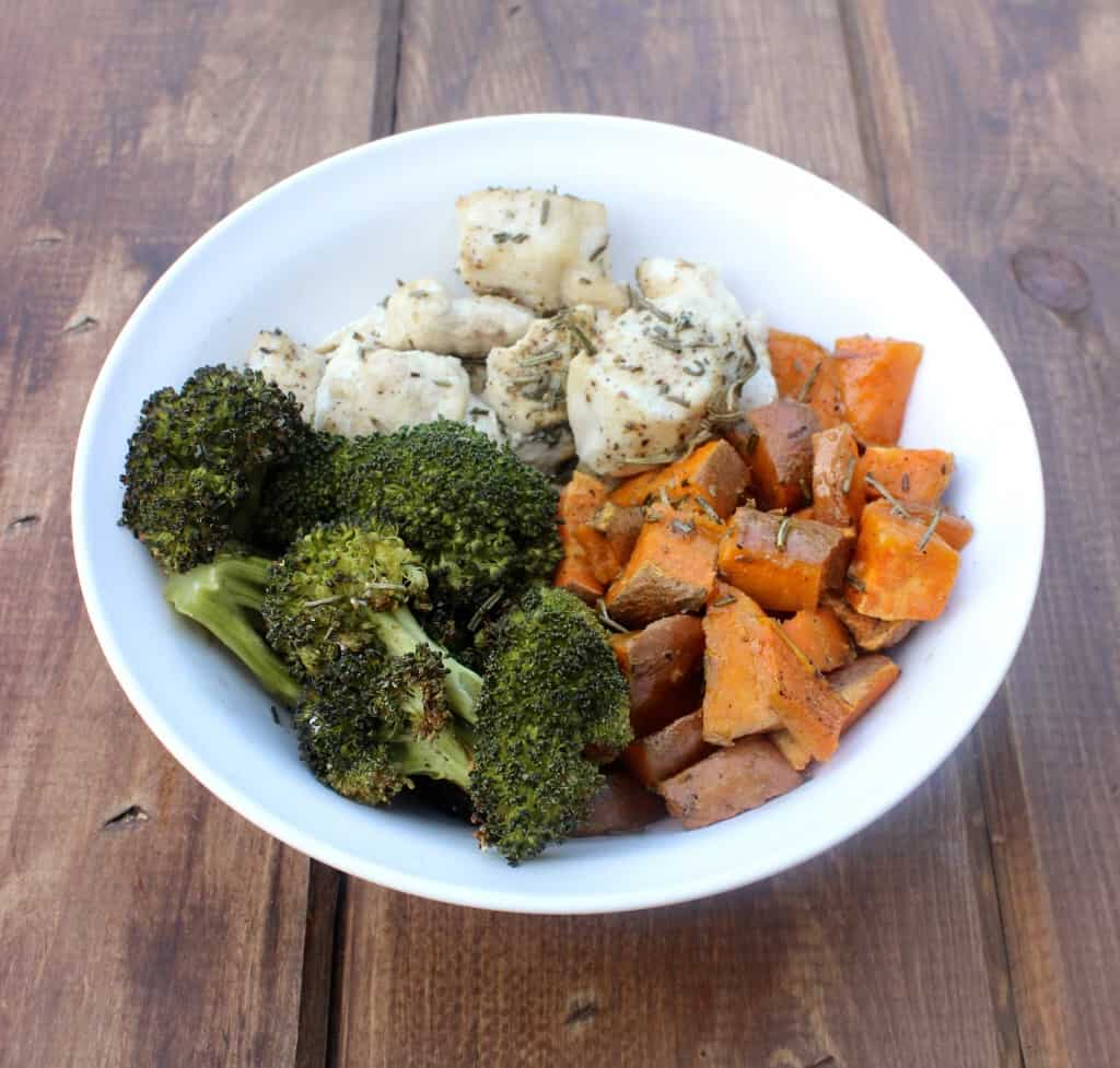 sweet potato broccoli chicken bowl