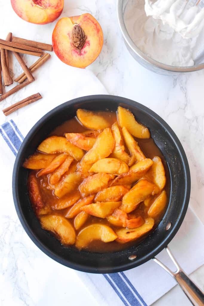 Easy cinnamon skillet peaches made in 5 minutes with one skillet!