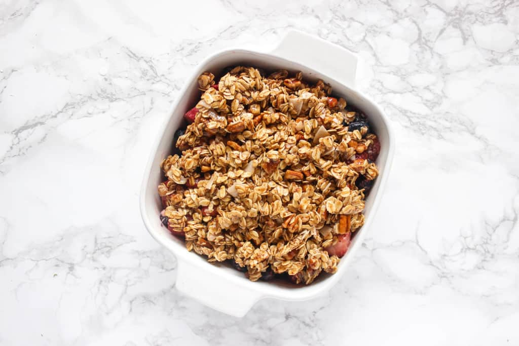 Healthy Mixed Berry Crisp with simple ingredients & you'd never know it's healthy!