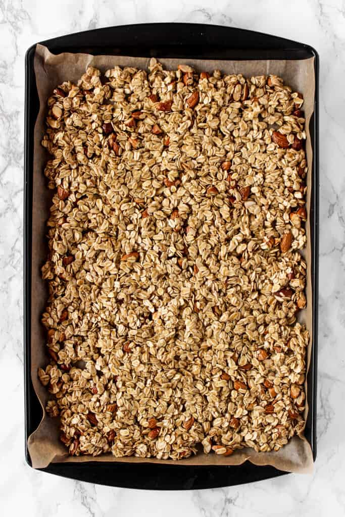 Customize your kitchen sink granola with dried fruit, chocolate chips, coconut flakes, and more!