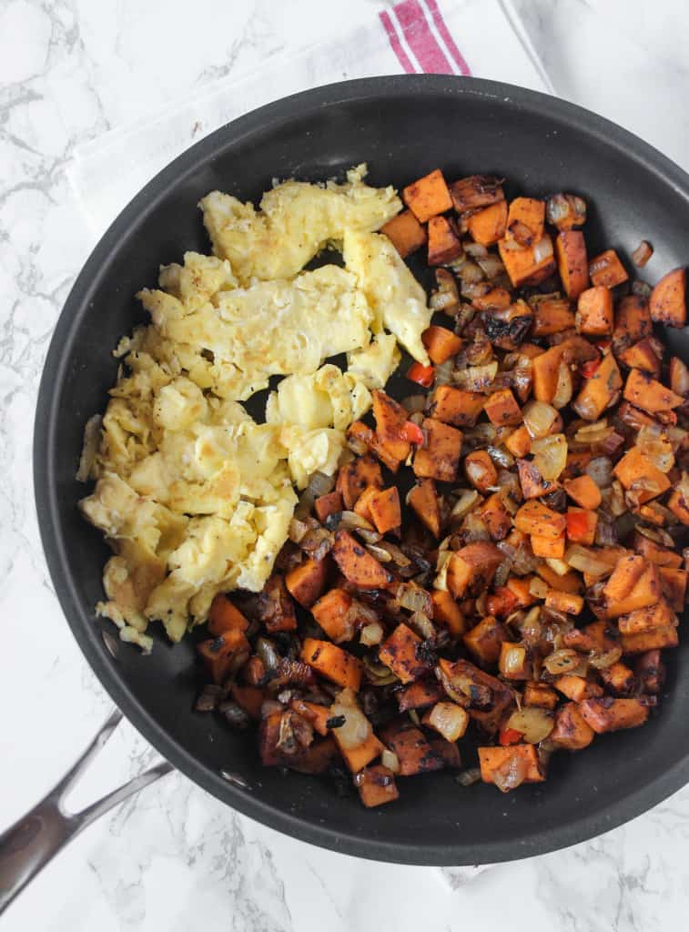 One Skillet Sweet Potatoes are crispy & a healthy side or breakfast dish! | www.healthy-liv.com