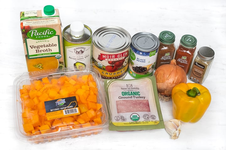 Butternut Squash Turkey Chili Ingredients