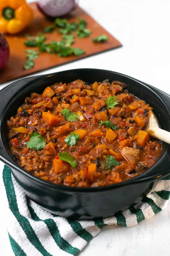 Pot of butternut squash turkey chili