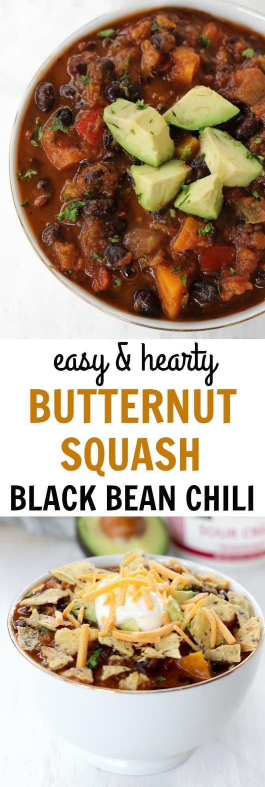 Hearty, cozy butternut squash black bean chili   www.healthy-liv.com
