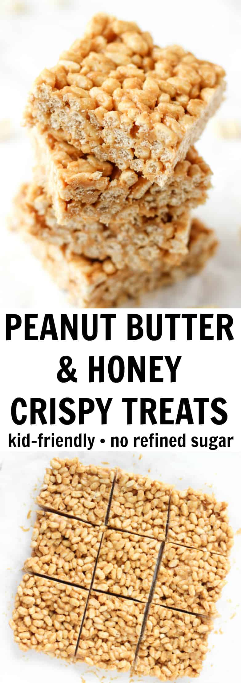 These peanut butter crispy treats have NO refined sugar and just three simple ingredients!