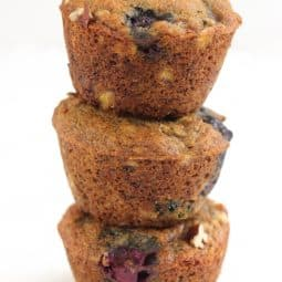 Sprouted Spelt Blueberry Banana Nut Muffins