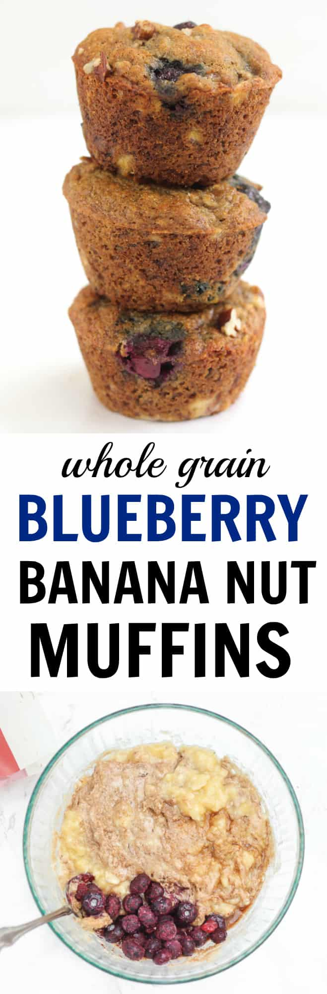 These hearty muffins have blueberries, mashed bananas, nuts, and cinnamon and are the perfect whole-grain treat!