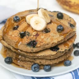 Blueberry Banana Oatmeal Pancakes for One