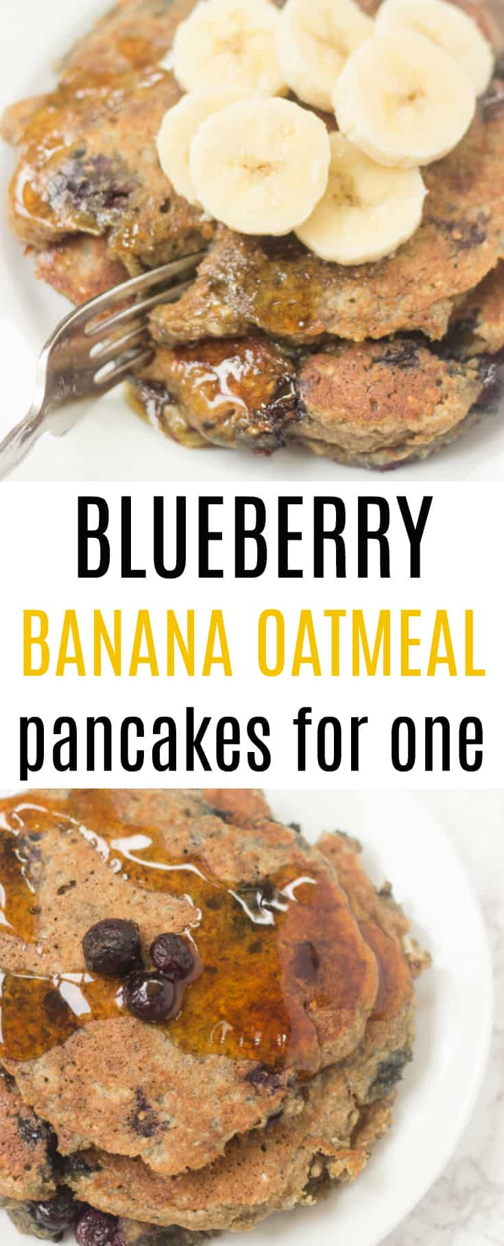 These single-serving blueberry banana oat pancakes are the perfect healthy breakfast!