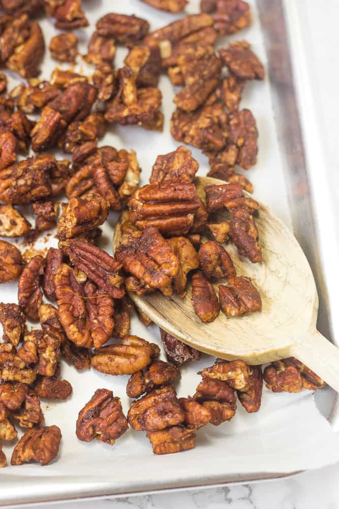 These honey-glazed pecans are so good on top of salads and for snacks!