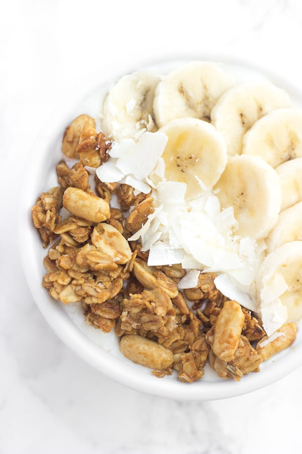 peanut butter granola, banana, yogurt