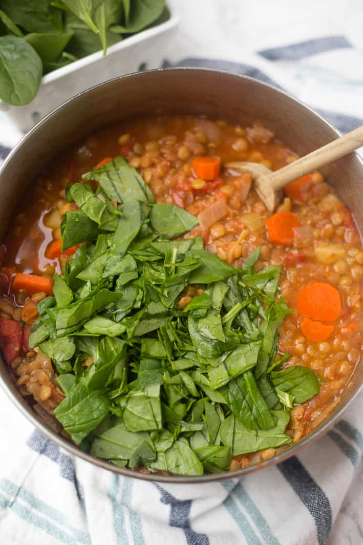 This hearty vegan lentil soup is an easy dinner recipe, perfect for Meatless Monday or a healthy, cheap dinner recipe!
