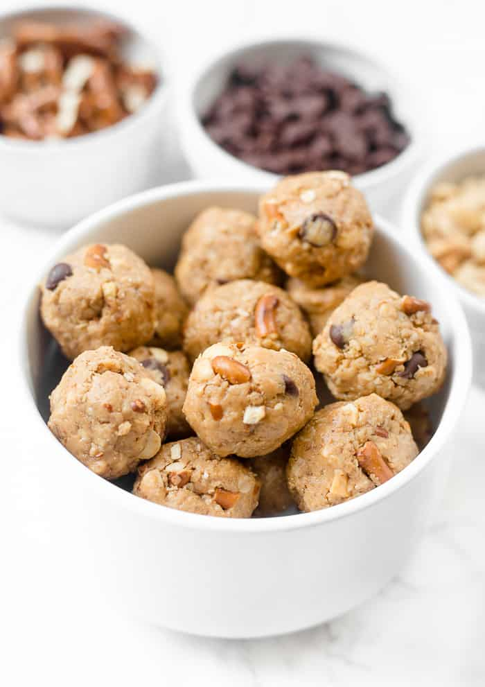 These Pretzel Peanut Butter Energy Bites are a healthy snack that tastes like cookie dough!