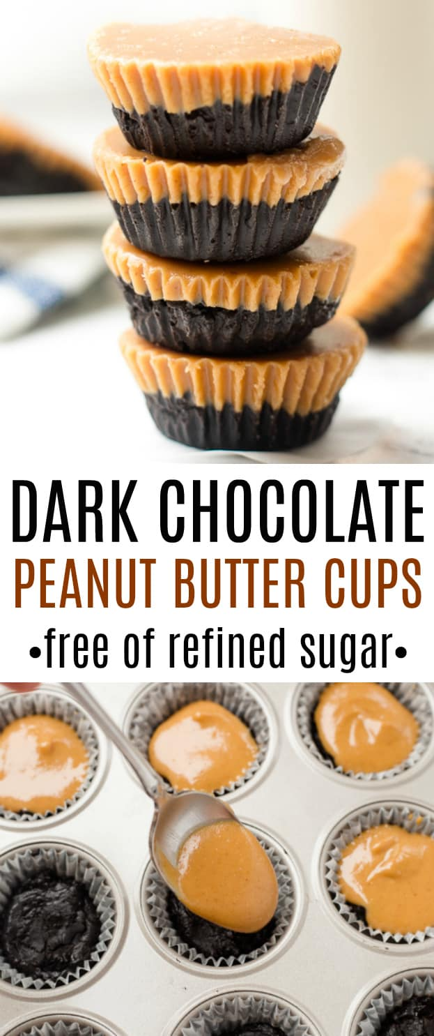 Healthy dark chocolate peanut butter cups with no refined sugar! Healthy dessert for your sweet tooth