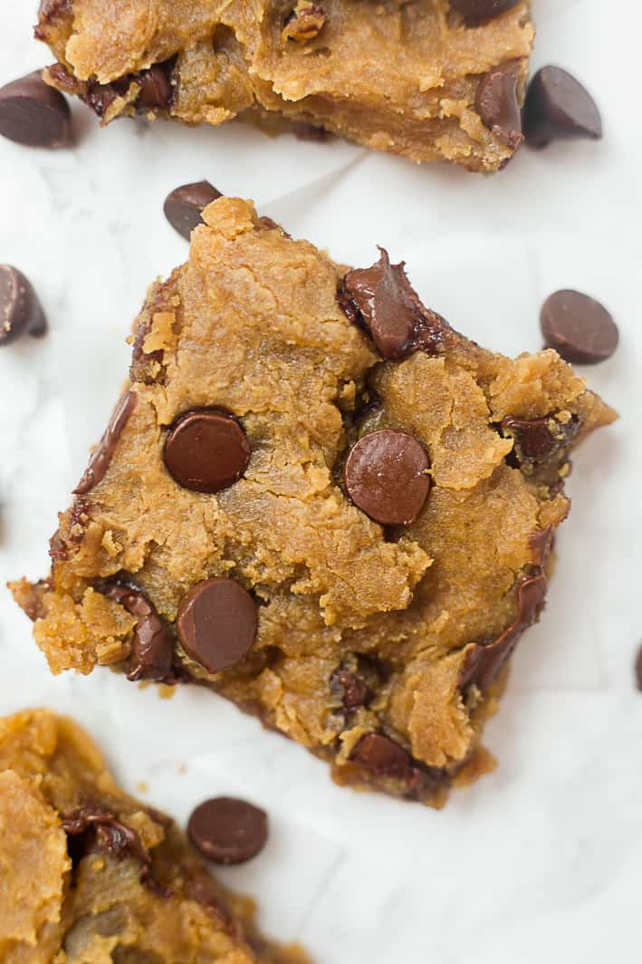 Healthy Peanut Butter Chickpea Blondies with Chocolate Chips