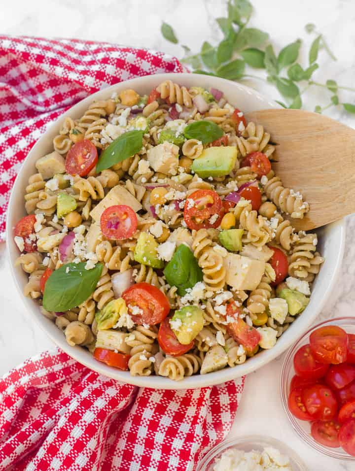 Avocado Chickpea Feta Pasta Salad with Basil Vinaigrette