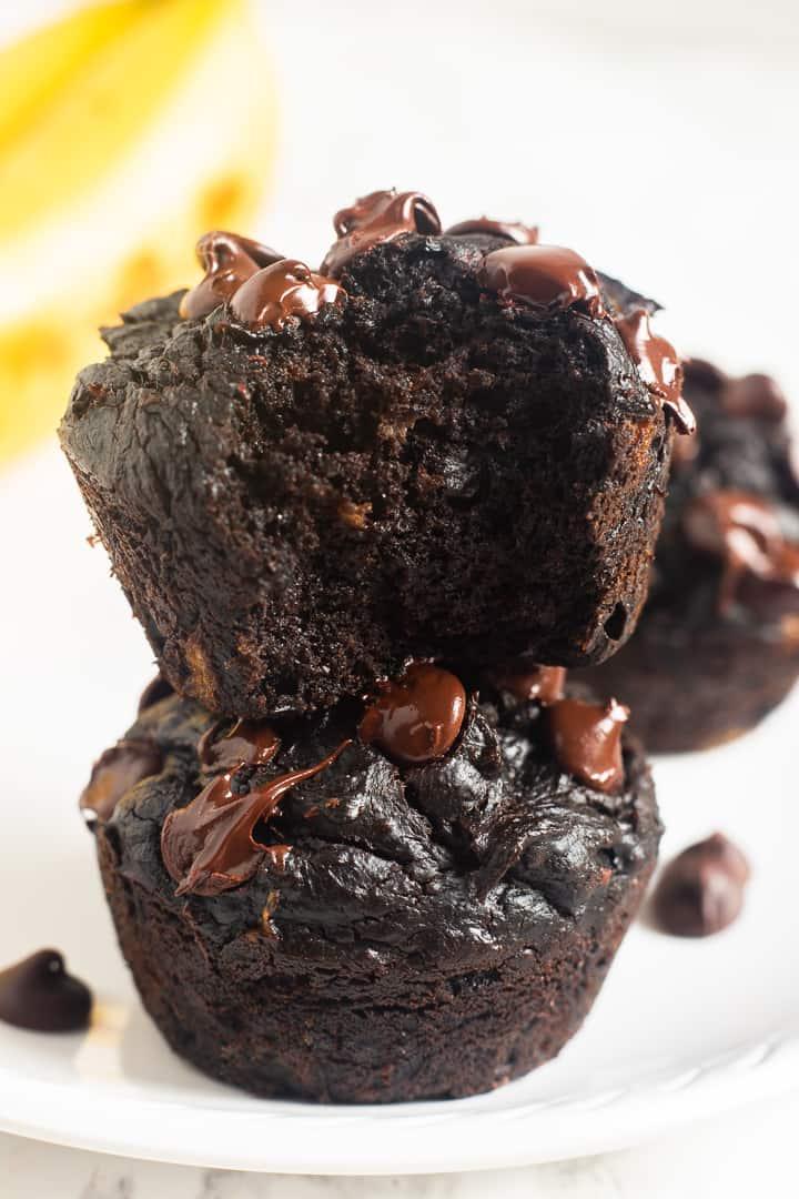 Flourless peanut butter banana chocolate muffins