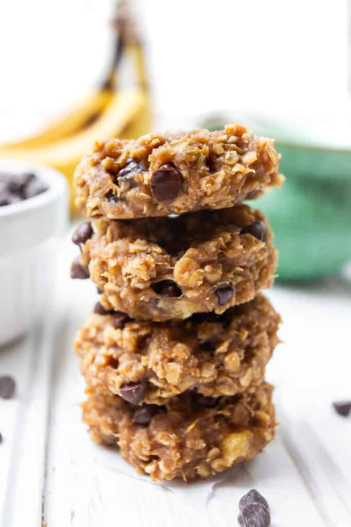 A stack of Peanut Butter Banana Oatmeal Cookies