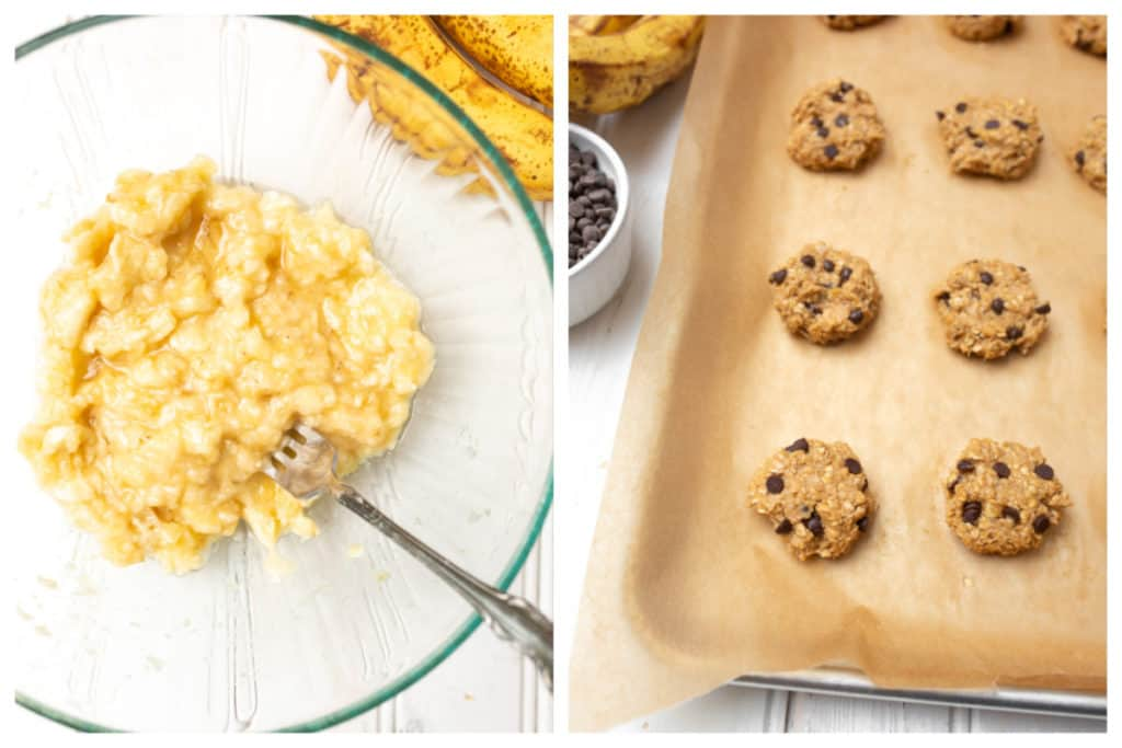 Peanut Butter Banana Oatmeal Cookies cooke dough and mashed banana