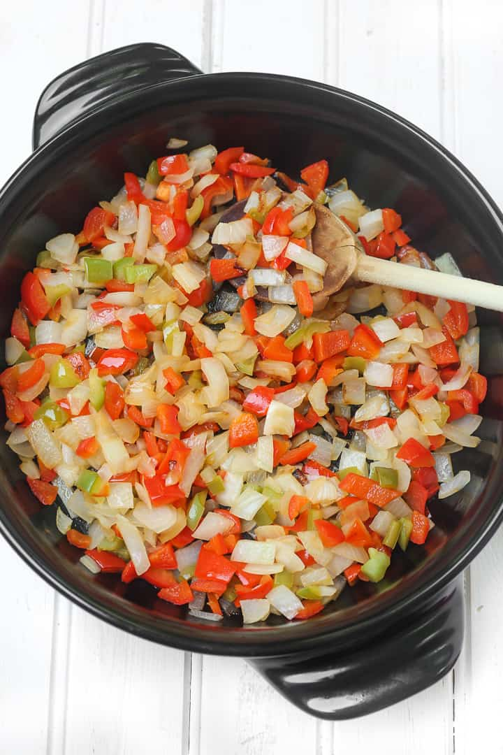 Sauted onions and bell peppers