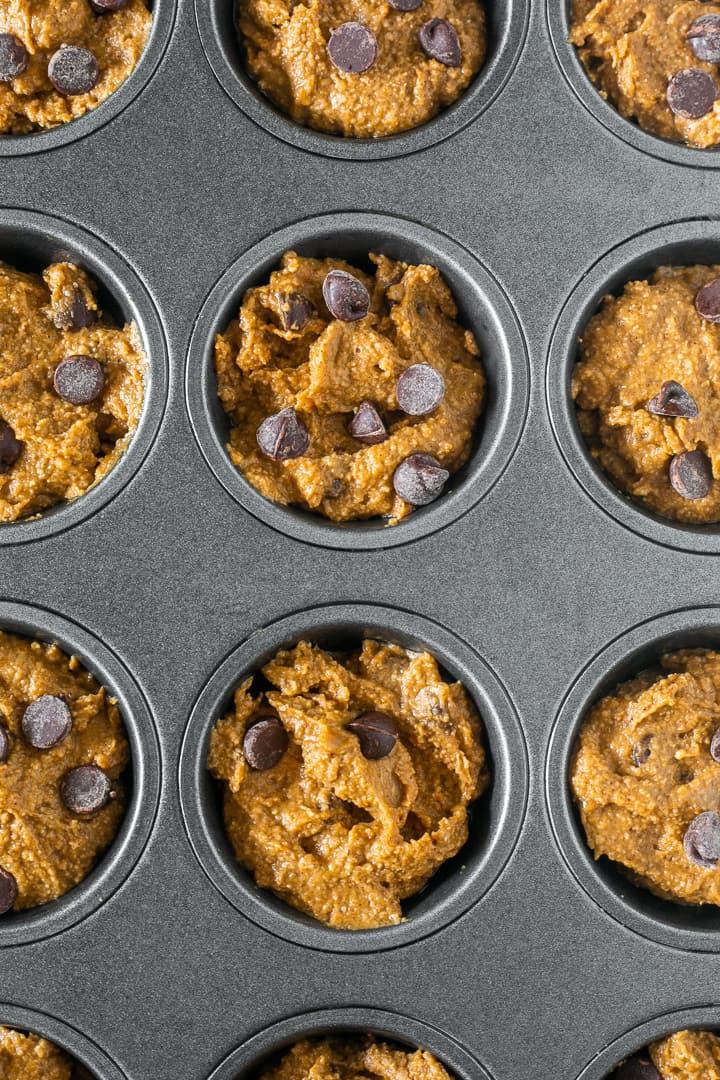 Baking healthy flourless chocolate chip pumpkin muffins