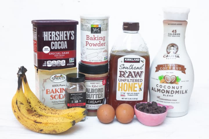 Healthy double chocolate muffins ingredients