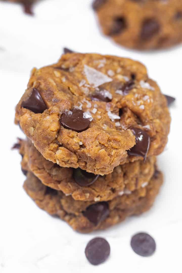 stack of healthy oatmeal peanut butter cookies